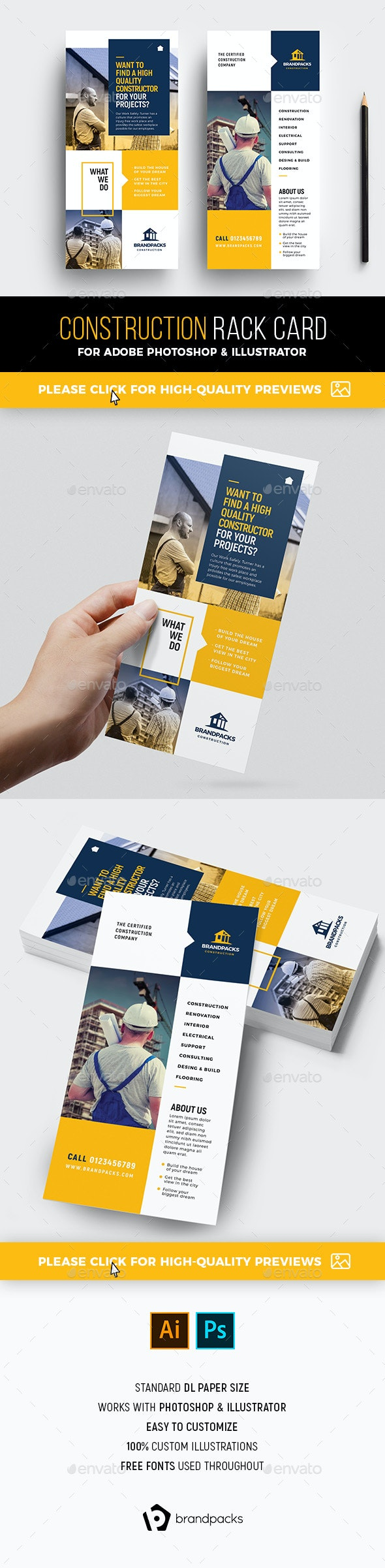 DL Construction Rack Card Template - Corporate Flyers