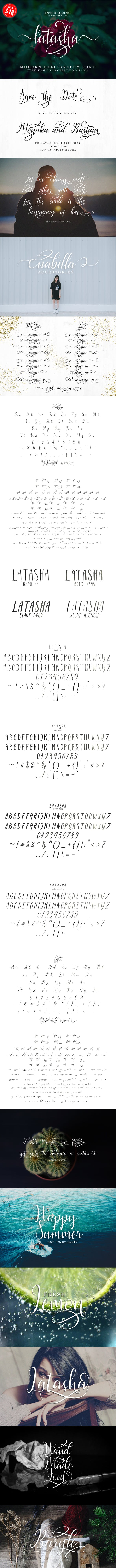 Latasha Font Family - 6 Font