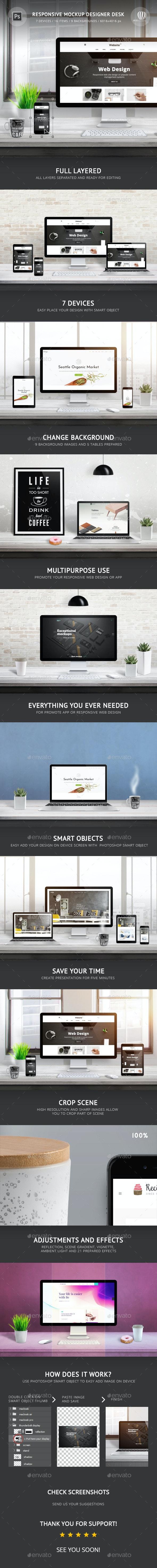 Responsive Mockup Designer Desk - Displays Product Mock-Ups