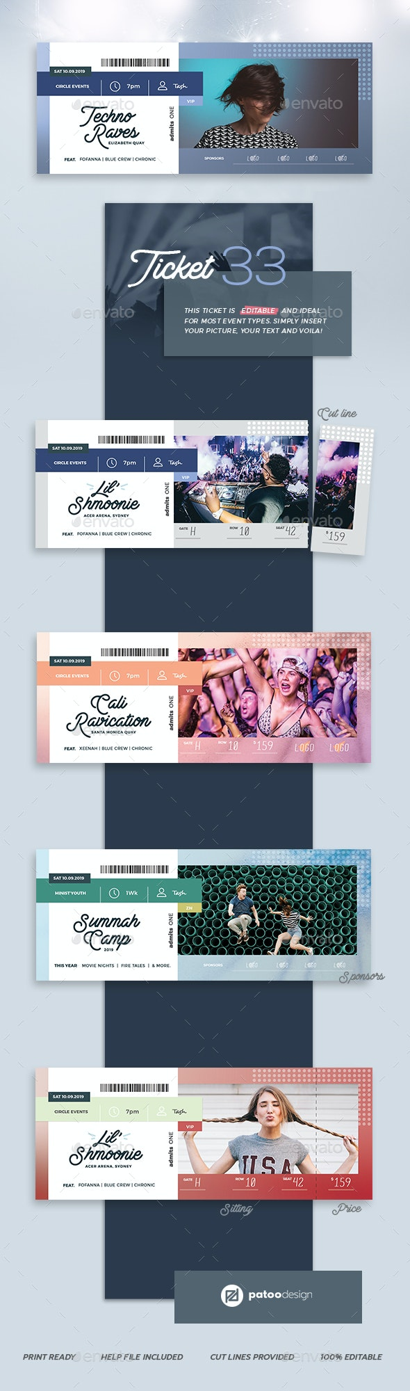 Event Tickets Template 33 - Miscellaneous Print Templates