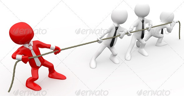 Businessmen Playing Tug of war  - 3D Renders Graphics