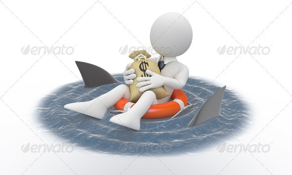 Businessman Protecting his Money from Sharks - 3D Renders Graphics