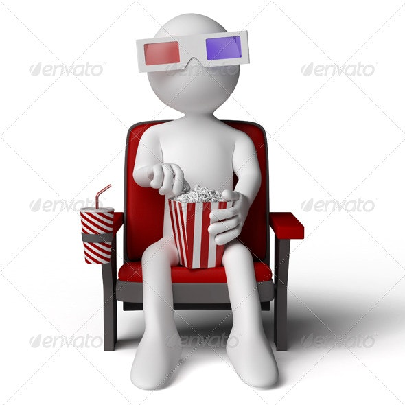 3D Human in the Cinema with 3D Glasses - 3D Renders Graphics