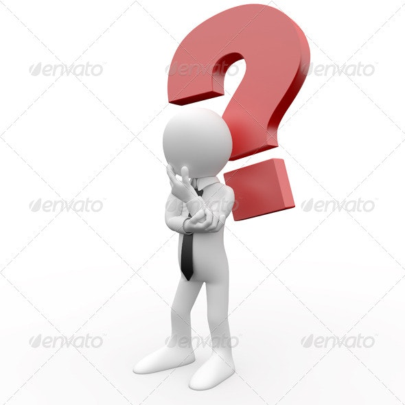 Businessman with a Question Mark over his Head - 3D Renders Graphics