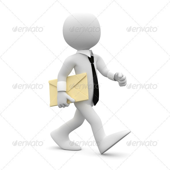 Man Walking with a Letter under his Arm - 3D Renders Graphics