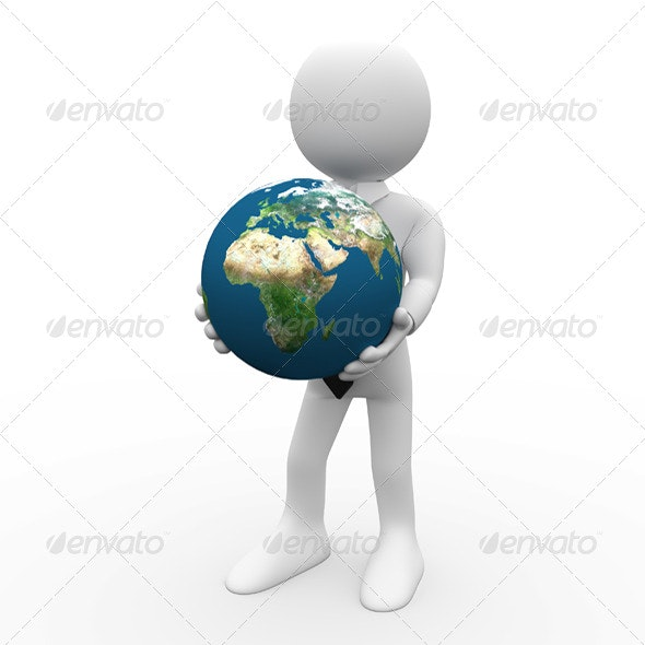 Businessman with the Earth in his Hands - 3D Renders Graphics