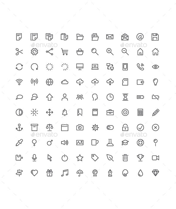 100 Basic Vector Icons