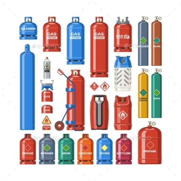 Gas Cylinder Vector Gas Bottles