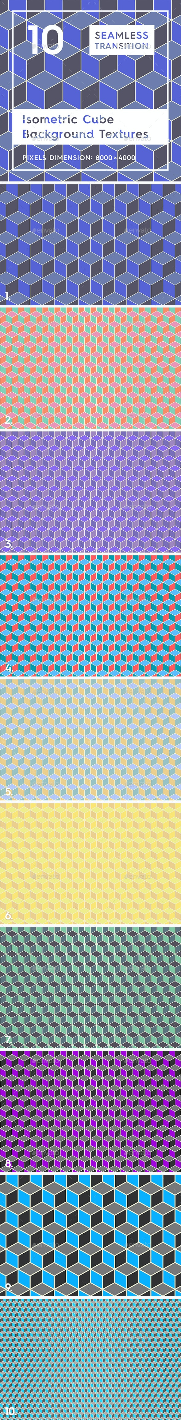 10 Isometric 3D Cubes Backgrounds - Patterns Backgrounds