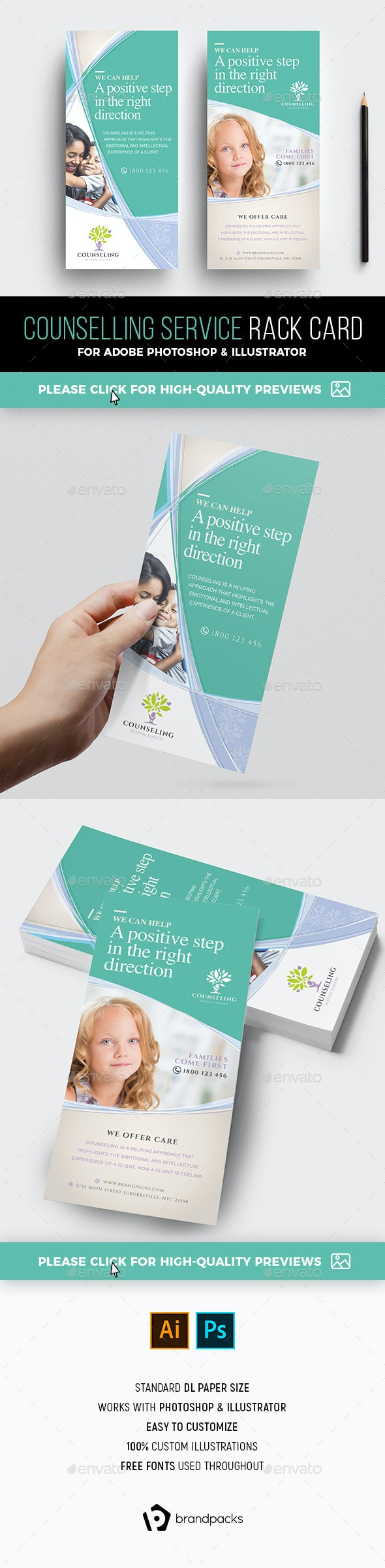 DL Counselling Rack Card Template - Corporate Flyers