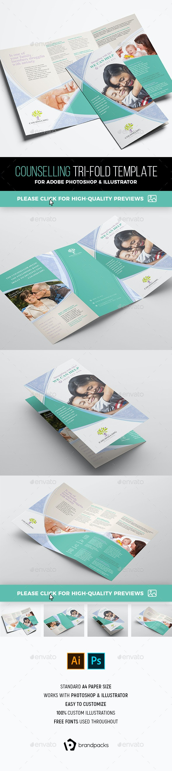 Counselling Tri-Fold Brochure Template - Corporate Brochures