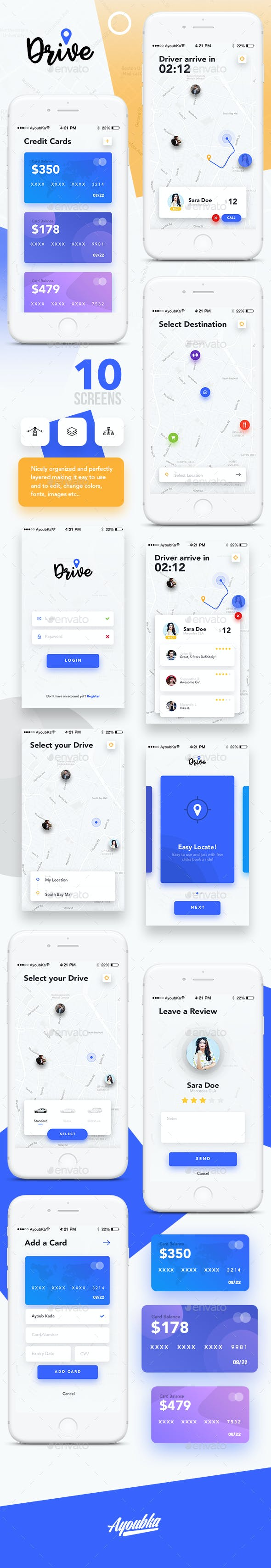 Drive - Mobile App UI Kit Design