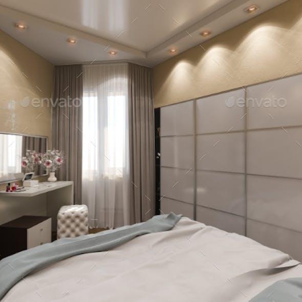 3D Render of Interior Design of a Bedroom in Beige