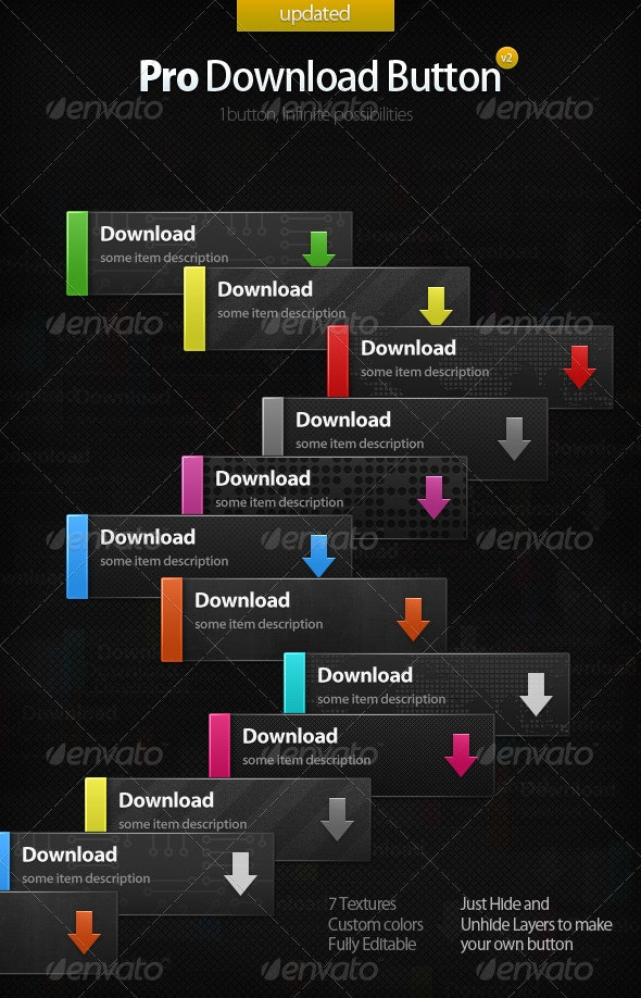 Pro Download Button - Buttons Web Elements