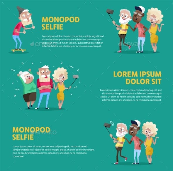 Poster of People Taking Selfie with Monopod
