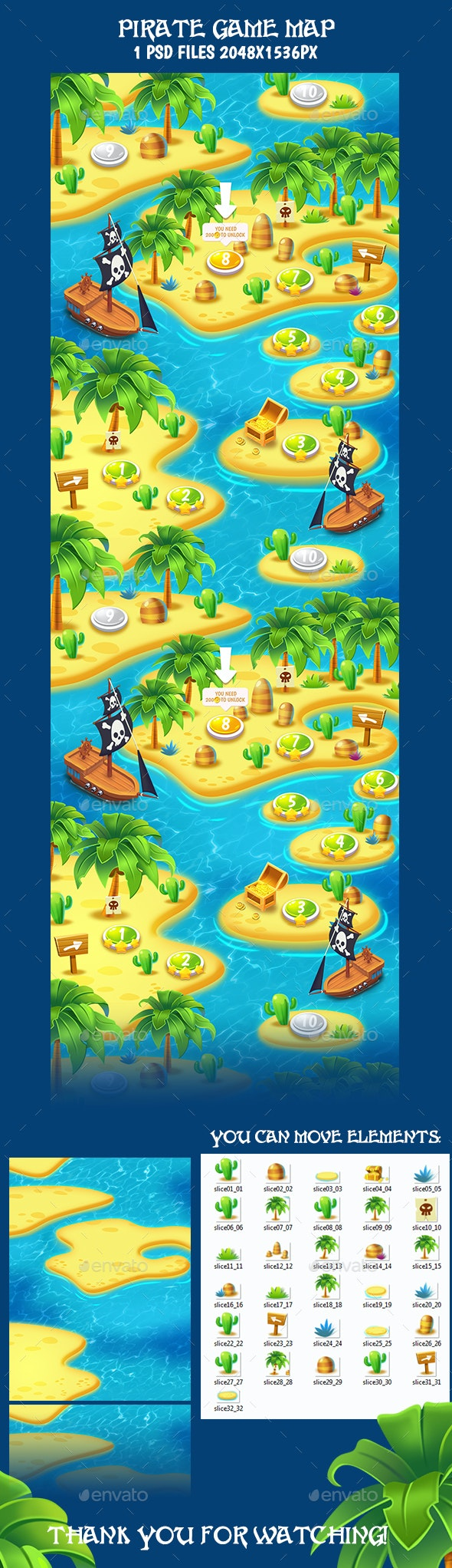 Tileable Seamless Tropical Vertical Game Map - Tilesets Game Assets
