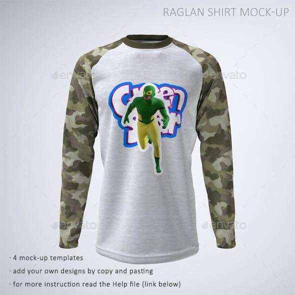 Long Sleeve Raglan or Baseball T-Shirt Mock-Up