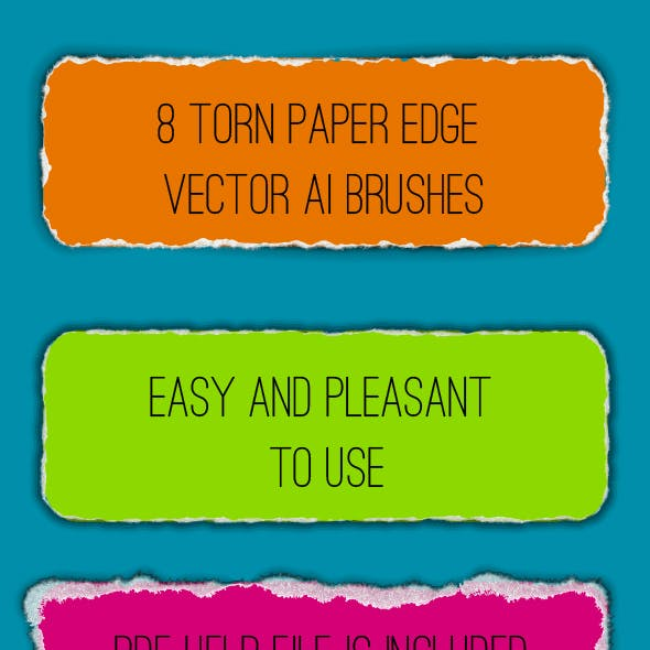 8 Ragged and Tattered Edge of Paper Adobe Illustrator Pattern Brushes