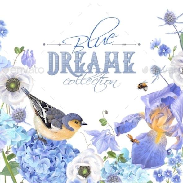 Blue Flower Bird Banner