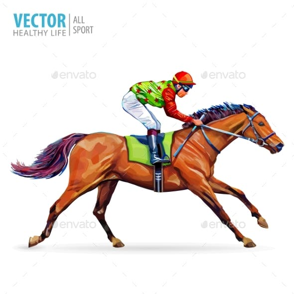 Jockey on Horse. Champion. Horse Racing