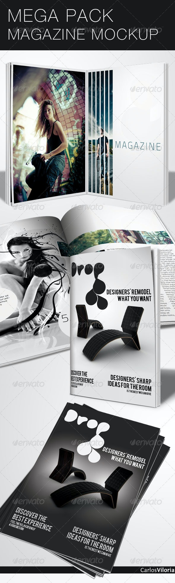 Mega Pack Magazine Mock-Up - Magazines Print Templates