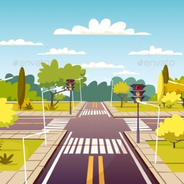 Street Crossroad Vector Cartoon Illustration