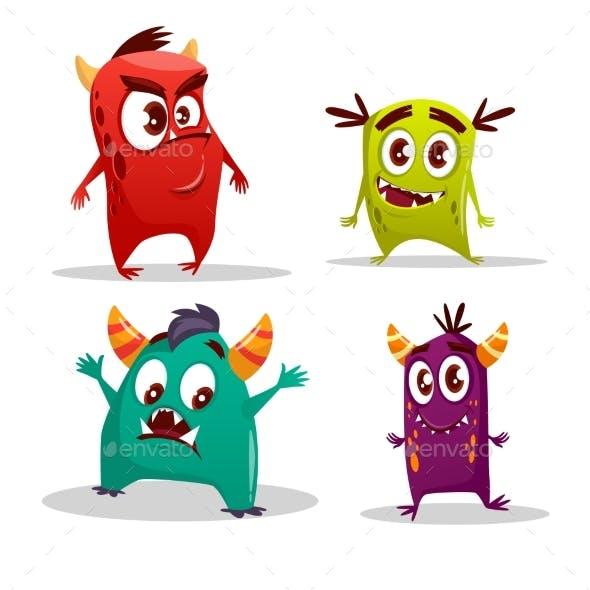 Vector Cartoon Monster Set
