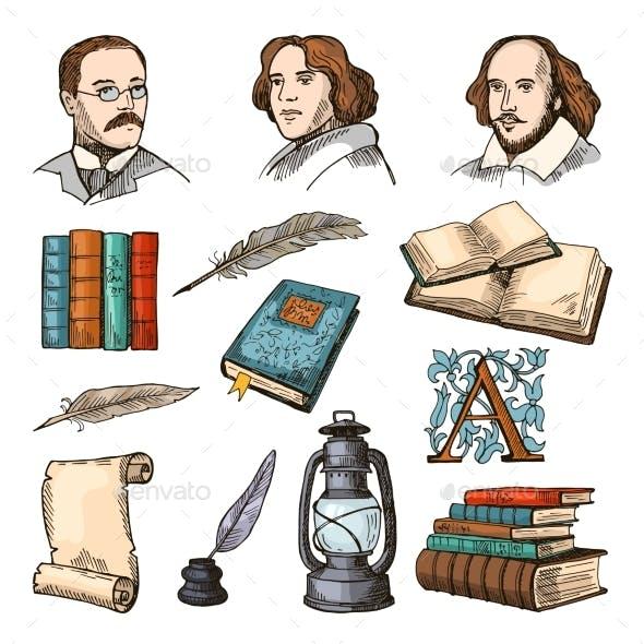 Colored Symbols of Literature and Theatre