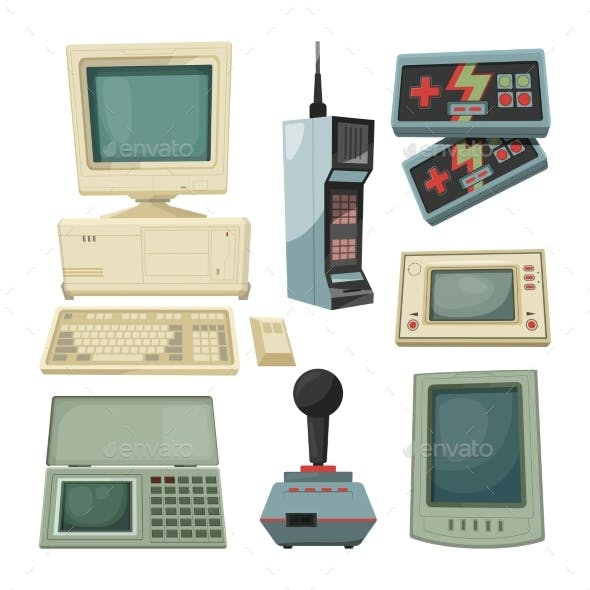 Retro Illustrations of Technicians Gadgets
