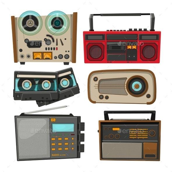 Vintage Audio Recorders Isolated on White
