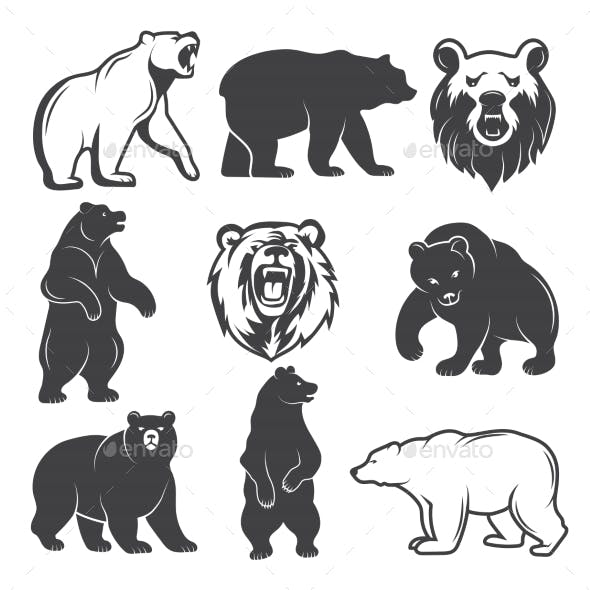 Monochrome Illustrations of Stylized Bears
