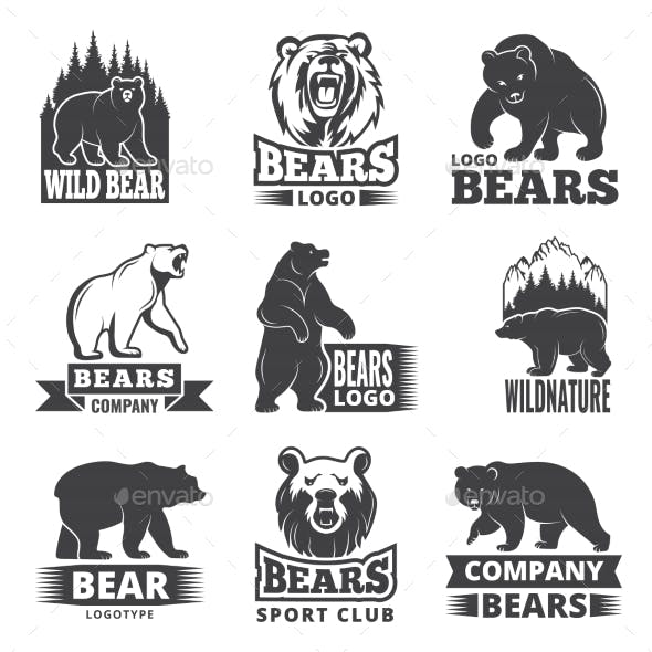 Sport Labels with Illustrations of Animals
