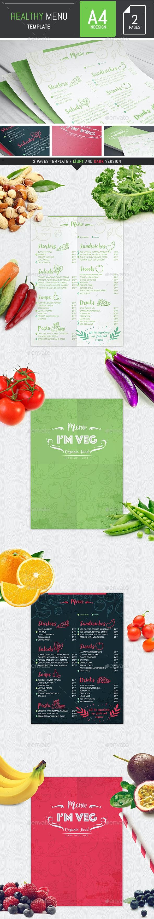 Healthy Food Restaurant Menu Template - Food Menus Print Templates