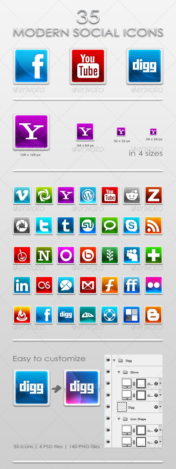 35 Modern Social Icons - Web Icons