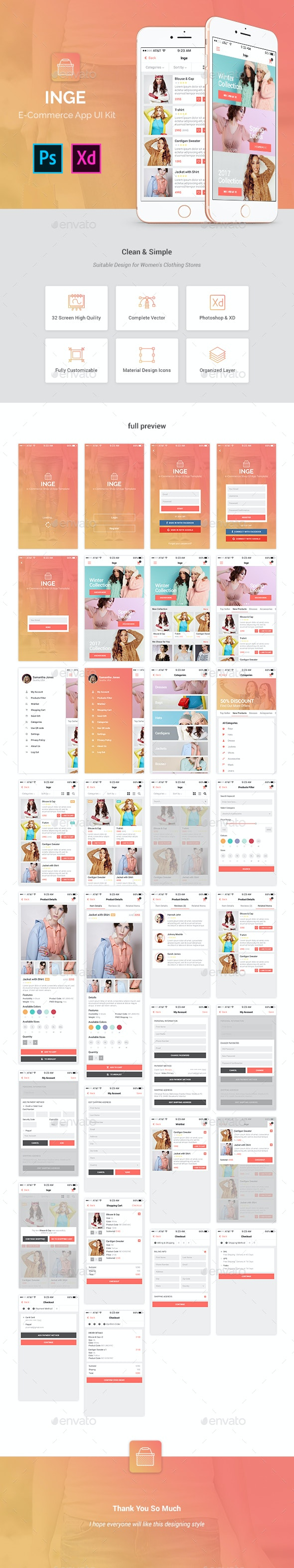 Inge E-Commerce App UI Kit - User Interfaces Web Elements