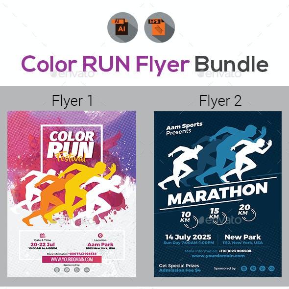 Color Run Festival/Marathon Event Flyer Bundle