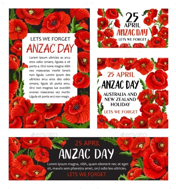 Anzac Day Poppy Flower Memorial Card Design By Vectortradition