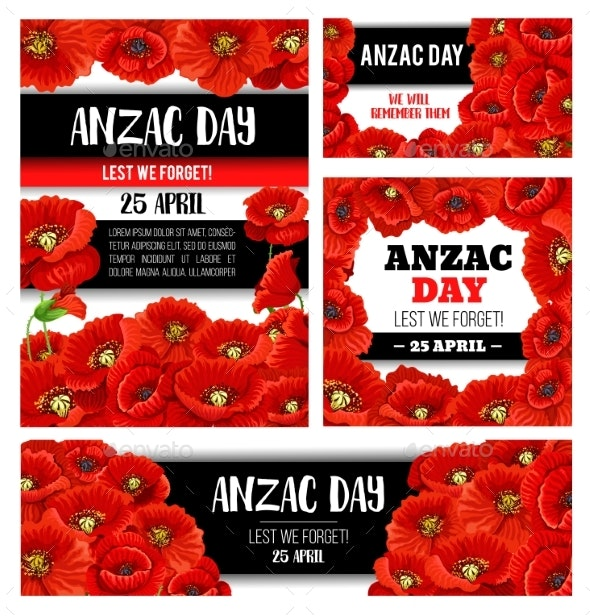 Anzac Day Memorial Banner With Red Poppy Flower By Vectortradition
