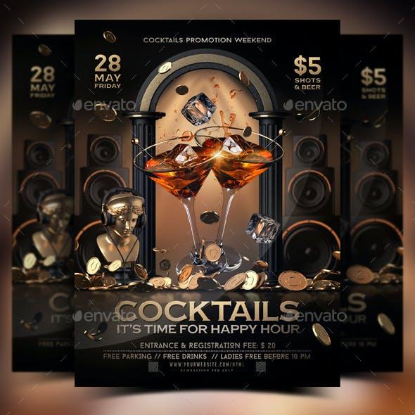 Happy Hour Cocktails Flyer