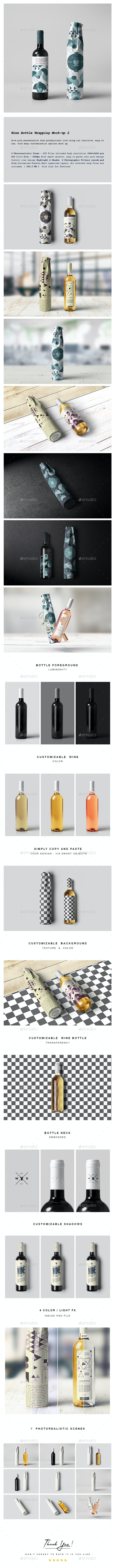 Wine Bottle Wrapping Mock-up 2 - Food and Drink Packaging