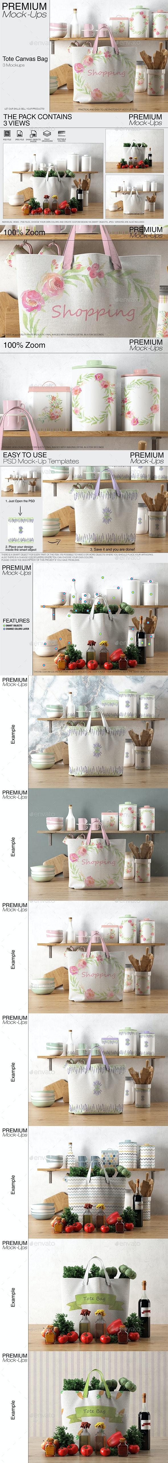 Tote Canvas Bag Mockups - Print Product Mock-Ups