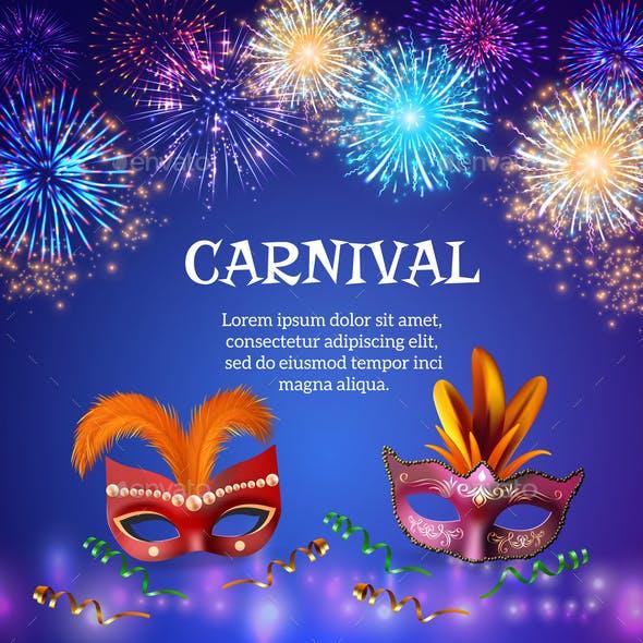Carnival Masks Firework Background
