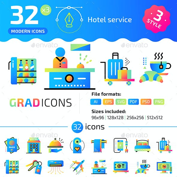 32+ Hotel Services Flat Icons