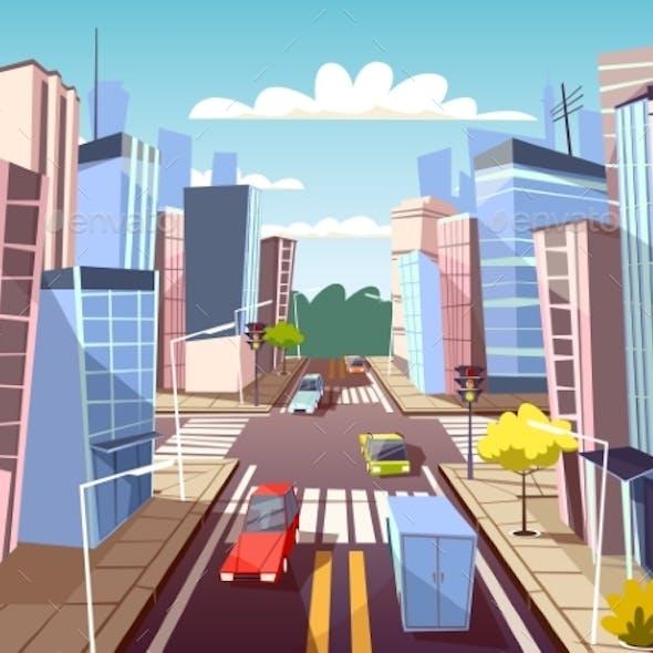 City Street Cars Vector Cartoon Illustration