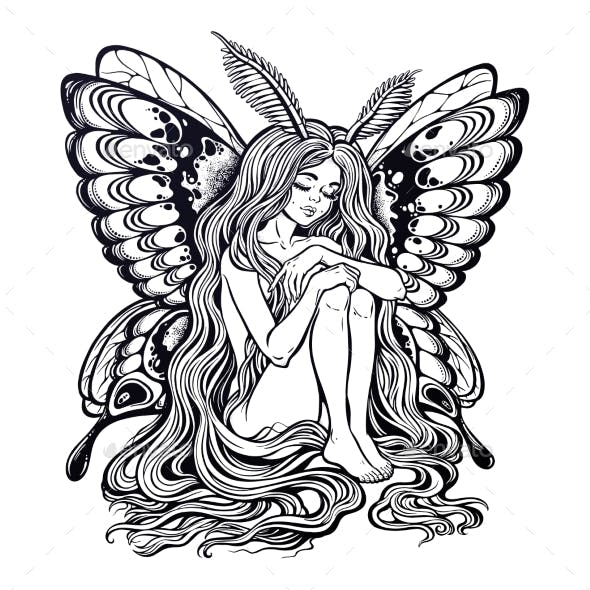 Moth Girl Butterfly with Long Wavy Hair.
