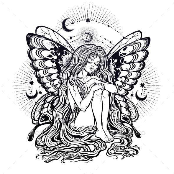 Girl Butterfly with Long Hair with Stars and Moon.