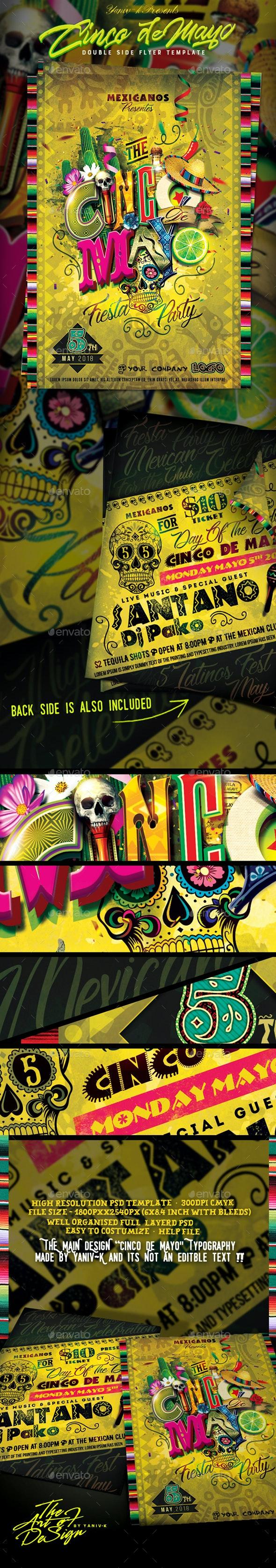 El Cinco De Mayo (Double Side) Poster/Flyer Template - Events Flyers