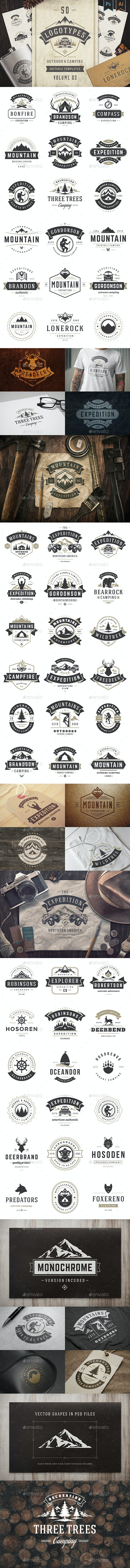 50 Outdoor Logos and Badges - Badges & Stickers Web Elements
