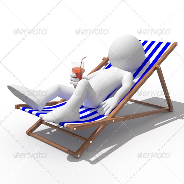 Tourist Lying on a Deck Chair Drinking a Soda - 3D Renders Graphics