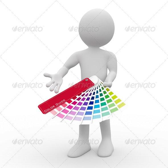 Graphic Designer Showing a Color Palette - 3D Renders Graphics